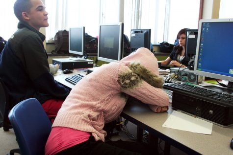 Yahayra Martinez, senior at Loy Norrix takes a quick nap in her fifth hour.