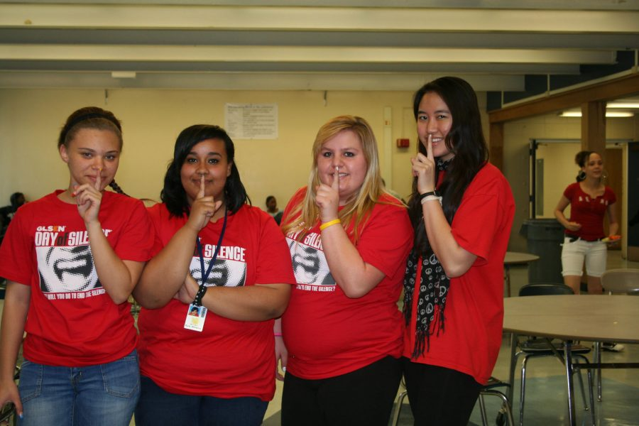 Tamara Irby, Kyra Williams, Mackenzie Wheeler, and Doungebai Leo show their support for The Day of Silence. None of them are homosexual, but advocate for the cause. Photo Credit Asia Davis