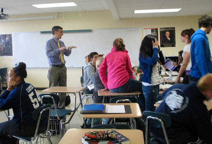Matthew Porco teaches his AP U.S history class. His AP Euro class is no longer offered at Loy Norrix.