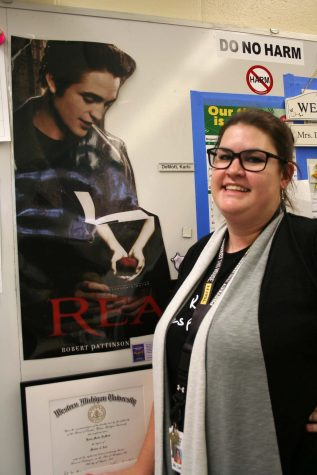 Photo by Sydnee Stannard  Reading and writing teacher Karla DeMott adores her dream man. She smiles as she thinks about the possibility that one day she could meet the famous Edward Cullen.