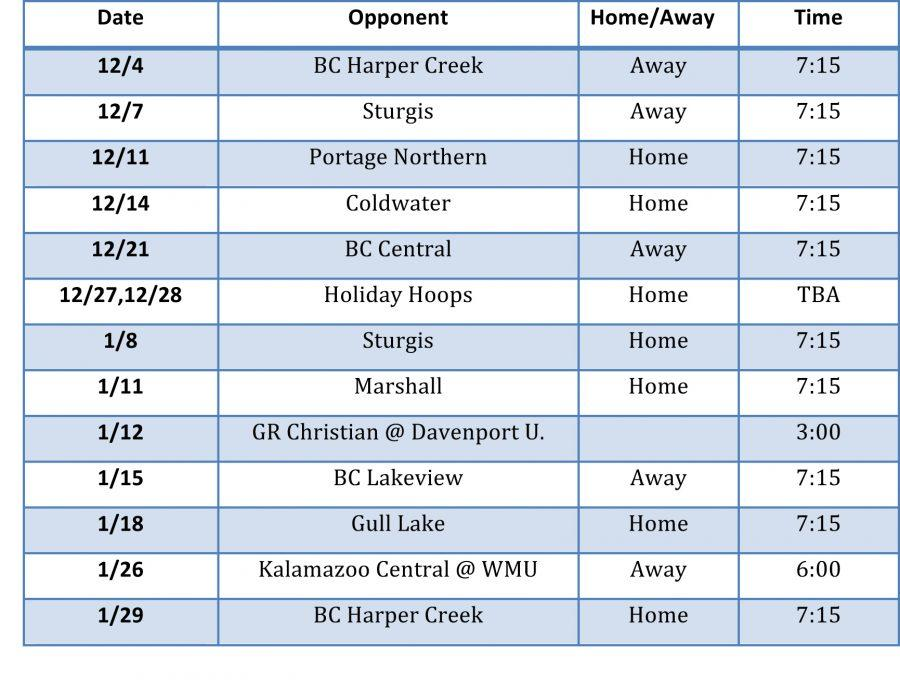 Mens Varsity Basketball Schedule & Sport Spirit