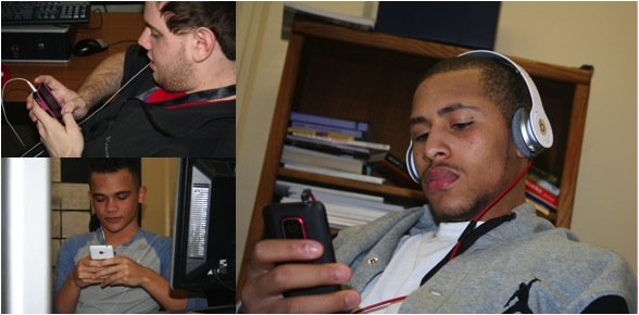 Students use both iPhone and Android devices each day.  Senior Bishop Robinson (bottom right) is shown using his Android.