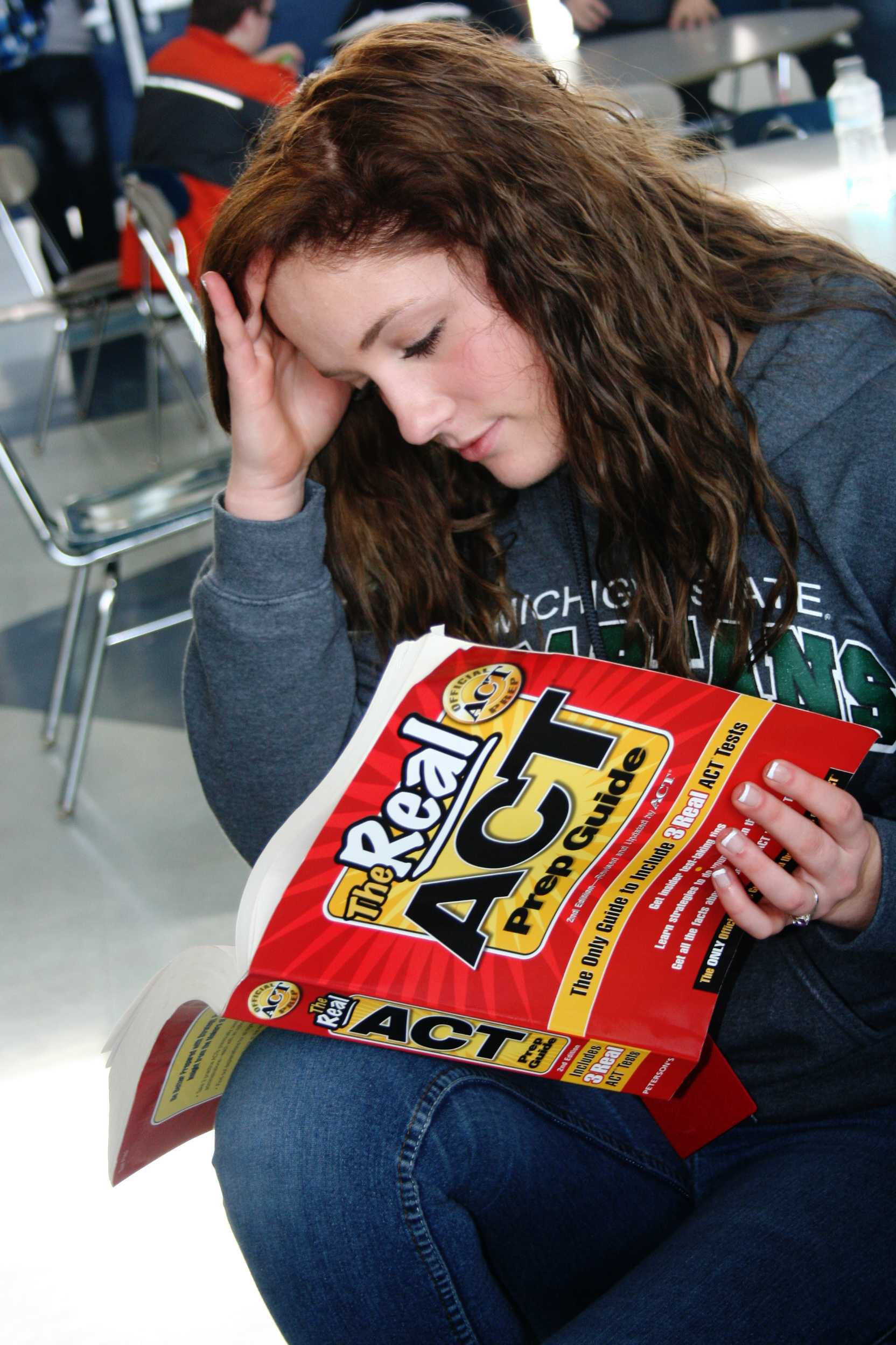 Junior Claire Mears instead of eating and socializing with friends at lunch decides to study for the ACT. With the ACT and MME tests being this week, many juniors are forced to crack down on studying.