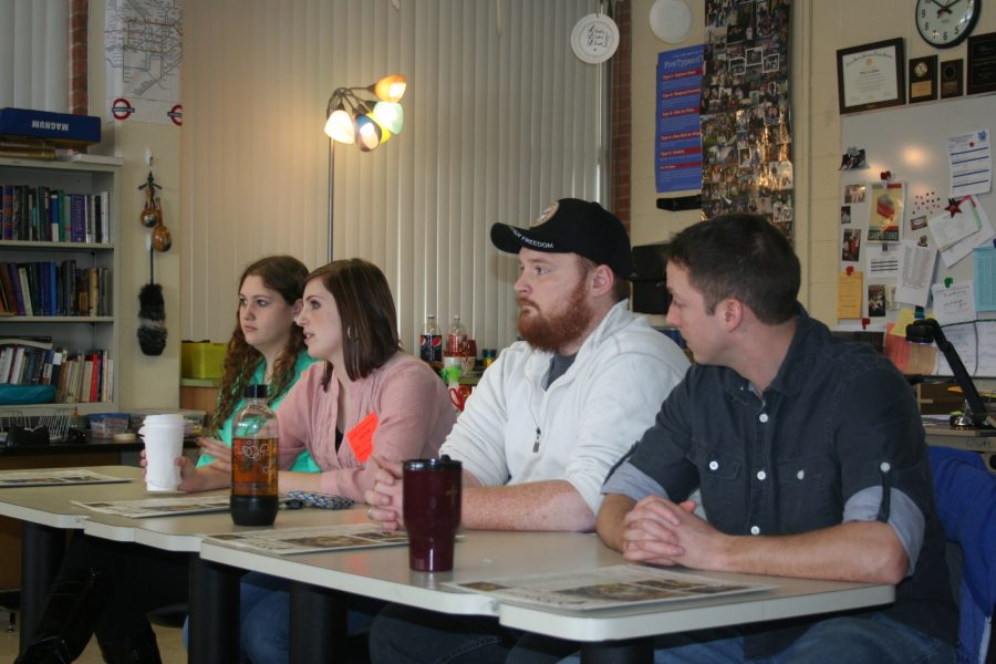 Photo  by Sydnee Stannard Four Student Veterans of America, Mike Morehouse, Emily Woodad, Terren Yosd and Jennie Brown a;; shared there experiances with the Knight Life News team,.