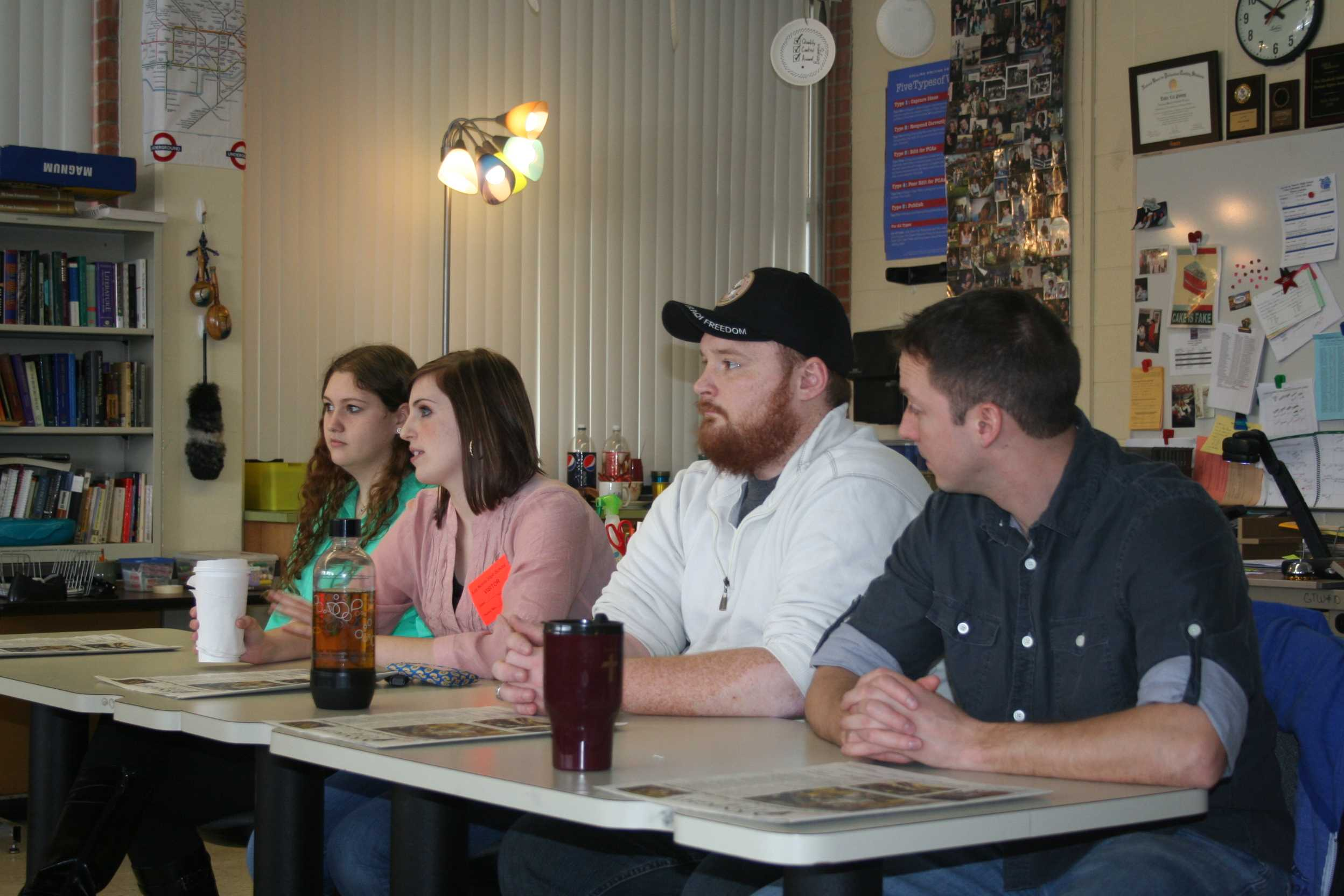 Photo  by Sydnee StannardFour Student Veterans of America, Mike Morehouse, Emily Woodad, Terren Yosd and Jennie Brown a;; shared there experiances with the Knight Life News team,.