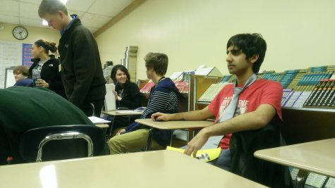 Photo credit Shakira Green Senior Haroon Chaudry participates in Day of Silence. It was difficult for him as everyone was speaking around him.