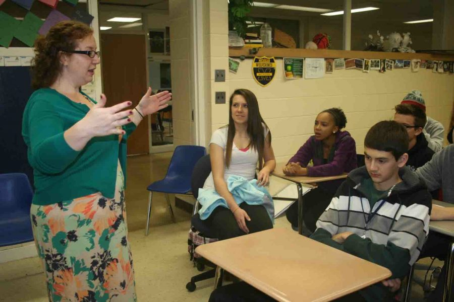 Photo Credit: Asia Davis Rebecca Layton converses with students about polygamy, and cult related activities. Layton enjoys discussing taboo topics with her classes.