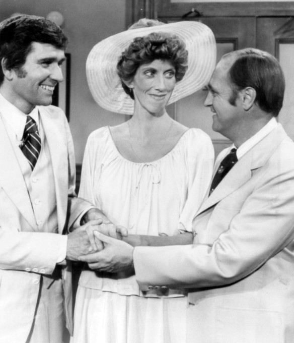 Marcia Wallace is debatably best known for her part on the Bob Newhart Show. This photo is from an episode of the show that aired in 1975, Marcia is in the middle.