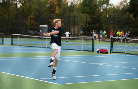 Jake Gumbleton returning a backhand during conference finals to set the state record.