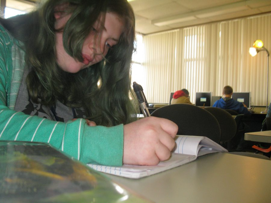 Skye Vescoso writes a poem in her free time. She has 3 notebooks full of her poems now. Photo credit: Anna Yudina