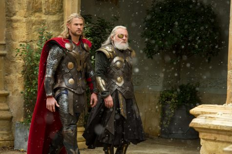 Thor and his father Odin discussing battle options against Malekith.