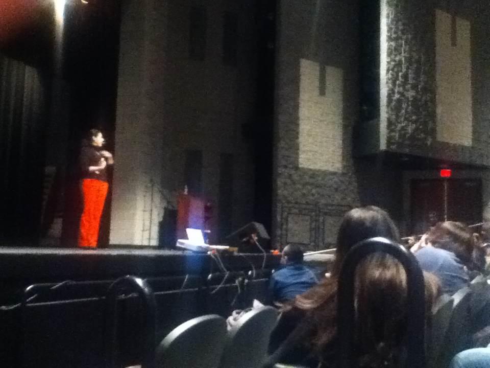 photo by Irving Quintero  Lina Traslavina Stoner gives a speech to students.