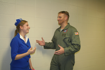 Jump Start teacher Paul Mahar and English teacher Brianna English dress up for Halloween. Both teachers make spirits fly with costumes reflecting a character from Top Gun and a flight attendant. Photo Credit / Jordan Liddle