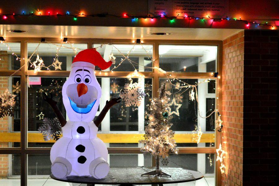 Students could buy raffle tickets for entries to win this inflatable Olaf snowman.