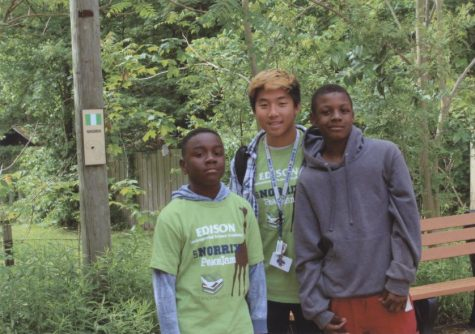 Chhay Wong with his reading partners Joshua Williams-Thomas and Johari Brashers at the Binder Park Zoo field trip with PeaceJam.