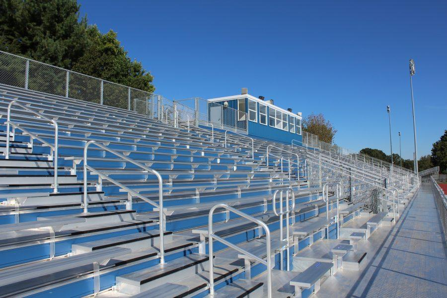 A view of the new home bleachers. They will hold half the capacity of the old ones.