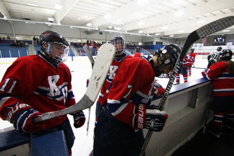 A shot of the Kalamazoo United hockey team. The team consists of members from Loy Norrix, Kalamazoo Central, and Hackett Catholic Central.Photo Credit: Yearbook