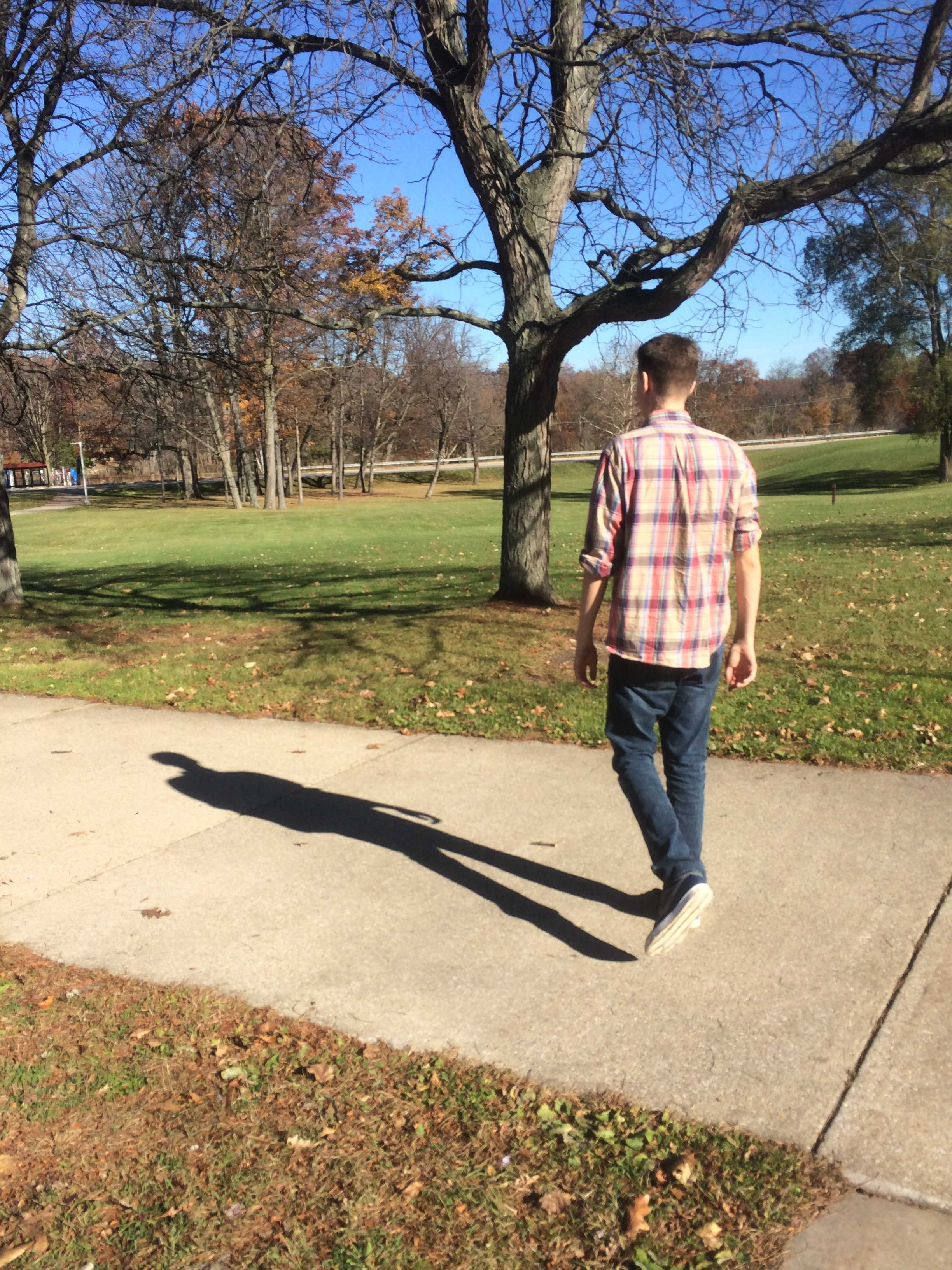 Knight Life staff member Clayton Barker, enjoys the pleasant November air while it lasts. Soon the Michigan cold will strike.