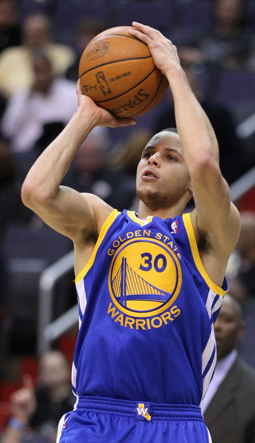 Stephan Curry leading the Warriors with what he does best shooting. Curry is currently leading the League in most three pointers. Photo Credit / Keith Allison
