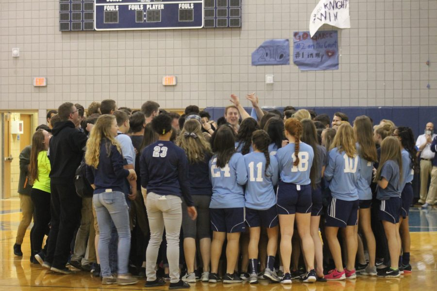 "All spring athletes sing the Knights anthem at the Spring Pep Rally at the gym. ""It makes spring teams feel reunited since we don't have a Pep Rally usually,"" said senior Megan Lohner."