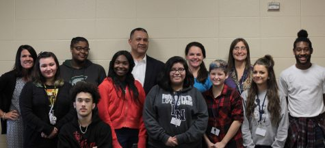 Eight recipients attended the student of the month lunch meeting with Mrs. Hinga and Mr. Prewitt. They all were recognized for their hard work around the classroom and school. Photo Credit / Christian Baker