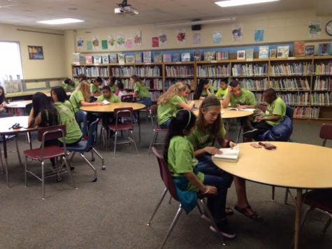 Last year's Literacy Project group works with their students at Edison Elementary school. Reading with their students is a very fun memorable task for many of the volunteers.  Photo Credit / Sveri May