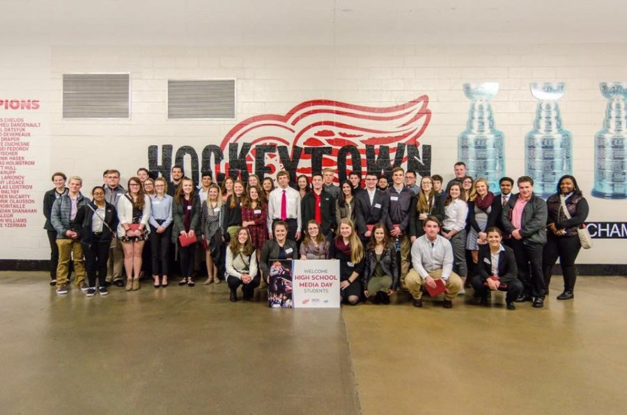 The group of high school journalists pose for a final picture of the day. Photo Credit / Brian Woodworth