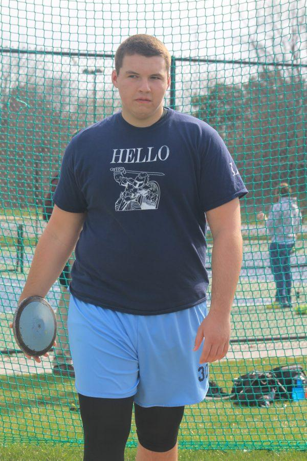 Senior Joe Hruska gets ready to throw in the discus event. Joe takes pride in placing high in every event he participates in. Hruska said even though discus is not my best event i take pride in winning.
