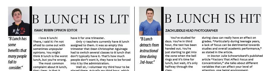 Point / Counterpoint: Is B Lunch Lit or Hit?