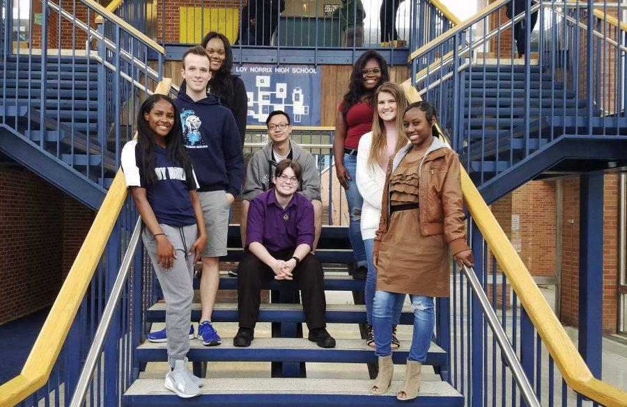 Clockwise from top middle: Yeqiu Zheng, Destiny Mabon, Ella Cavey, Shanice Gilbert, Maxwell Neeley, Hailey Timmerman, Christian Baker, and Jahmia Bell. The senior video group has worked hard all year to bring the 2017 senior video to Loy Norrix.