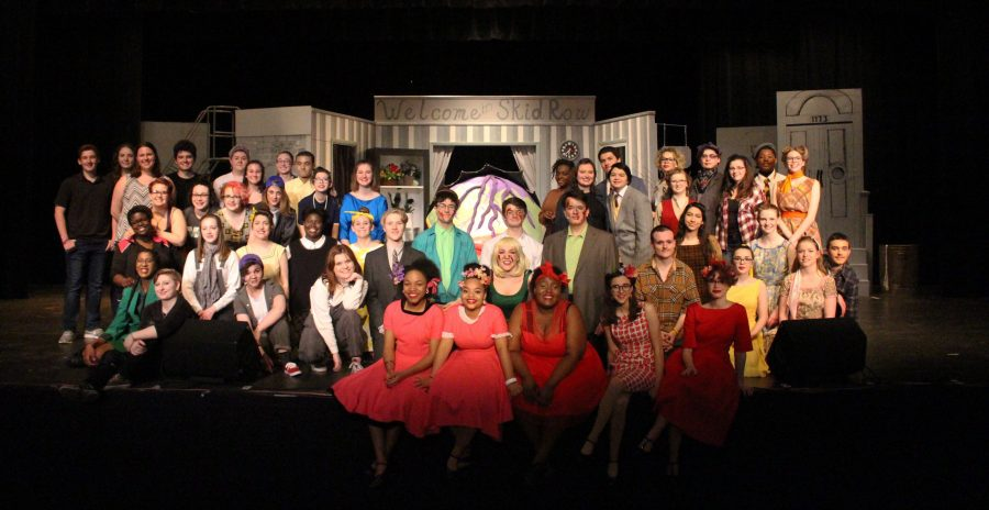 Little Shop of Horrors cast pose for a group photo. Photo Credit/ Mariah Sarelis