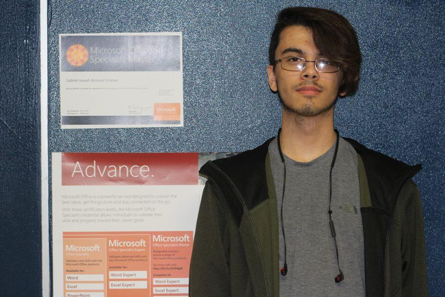 Sophomore Gabriel Vroman completed his journey to earning the Microsoft Office Master Award. Photo Credit / Finn Brent