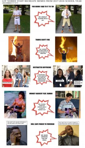 Loy Norrix Staff Recreate Memes from 2017-2018 School Year