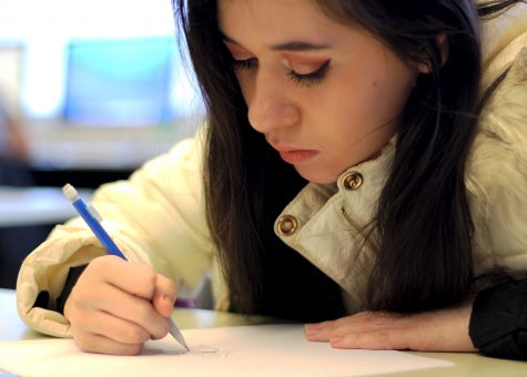 Jaylene Ballesteros, a sophomore at Loy Norrix High School, sketches during some down time in class. Drawing has been a passion of her's since middle school, and has been perfecting her art skills for many years. Photo Credit: Kinsey Skjold