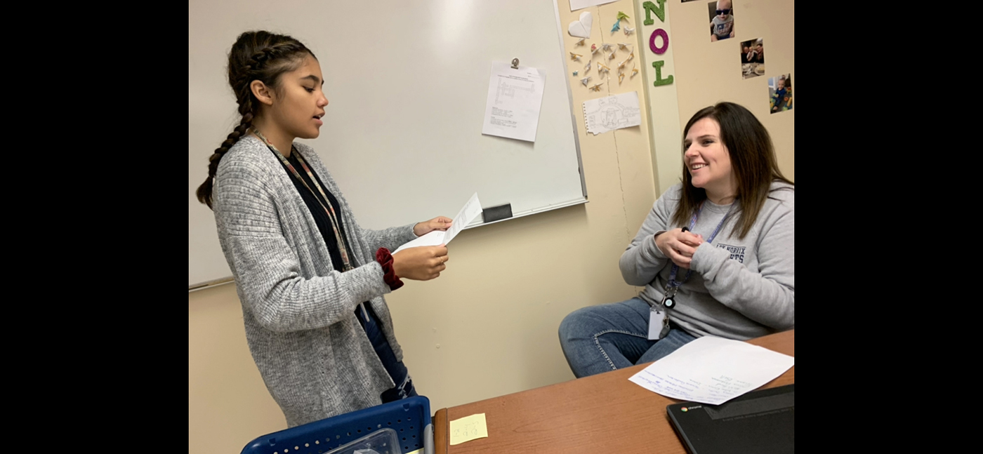 Sophomore Myah Walker has decided to meet with Spanish teacher Linsey Bain in the morning. Walker has questions on a story she wrote so she decided to go to Mr. Bain to read the story to her, because she trusts her.