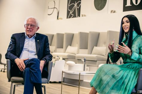 Rapper Cardi B interviews Democratic presidential nominee Bernie Sanders in the TEN Nail Bar in Detroit, Michigan. They bonded over their shared love for former U.S. president Franklin Delano Roosevelt and discussed issues plaguing our country today.