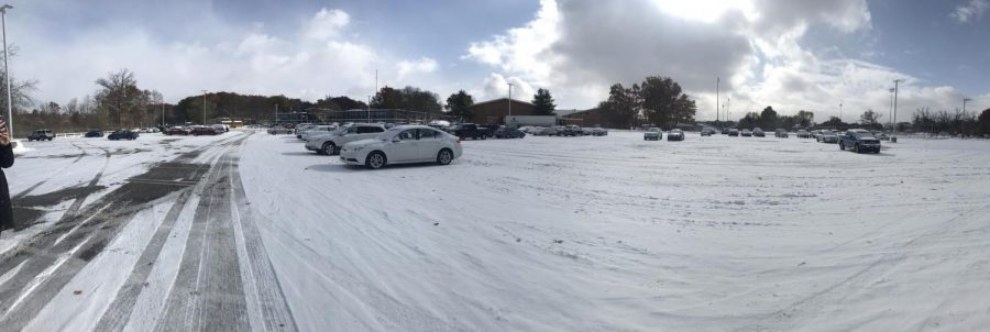 November 12, the day after school was canceled for a threat against the school, the parking lot at Loy Norrix sits close to empty. Students who felt that it was unsafe to attend school this day were excused from their classes.