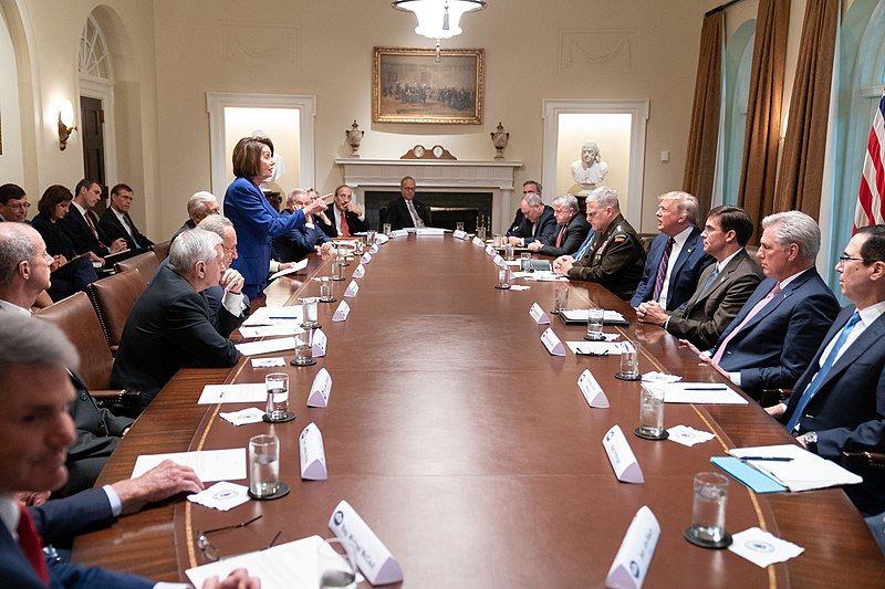 Speaker of the House Nancy Pelosi scolds President Trump during a meeting with Congressional Leadership.
