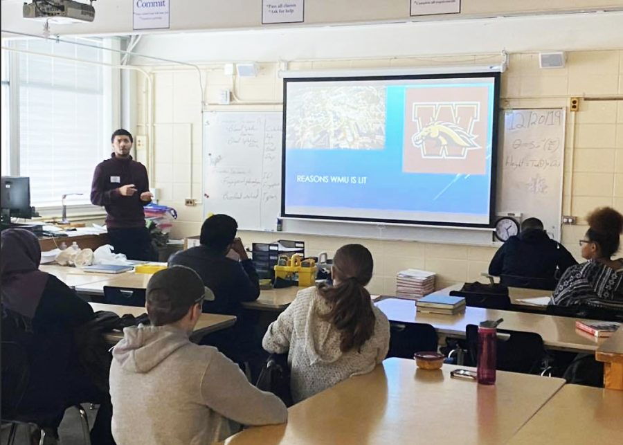 Tristan Mieroles came back to the halls of Loy Norrix to talk to a forensic science class about life after high school.