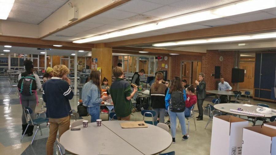 Members of the interact club discuss ideas for community projects at one of the club's after school meetings.