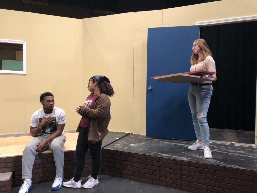 Derrell Mabon II, Kamryn Kimbrough, and Brooklyn Moore during play rehearsal. Mabon plays John Prentice Sr., Kimbrough plays Mary Prentice, and Moore plays Hilary St. George.