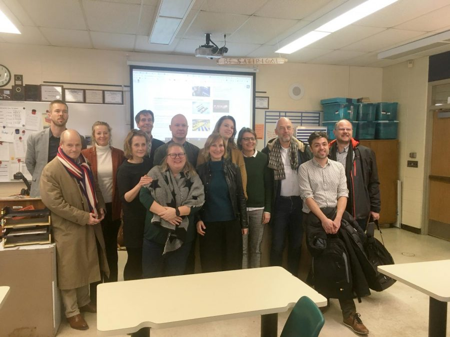 Visiting educators from the Netherlands pose for a group photo after a conversation hour with Norrix's Knight Life. When these guests come in Knight Life switches to third lunch in order to accommodate their schedules.