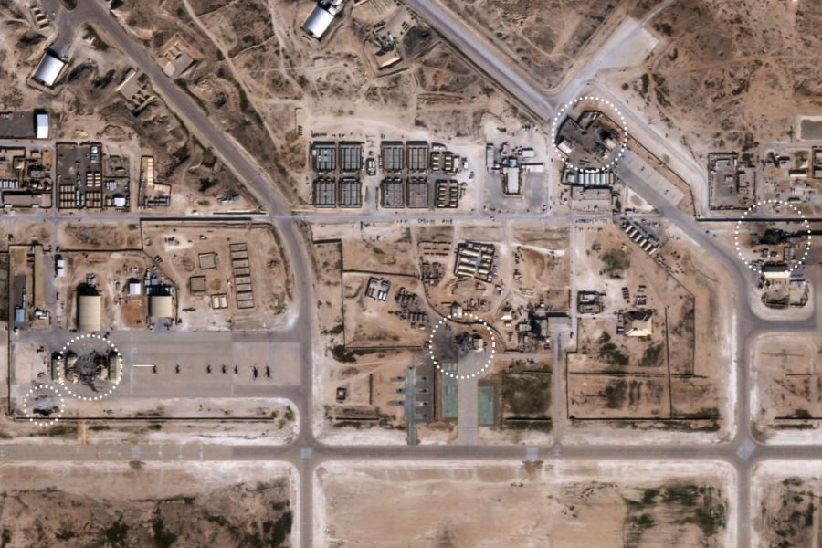 Satellite image of the strike zone on America's Al Asad air base. Iran claimed more than a dozen missiles were fired.