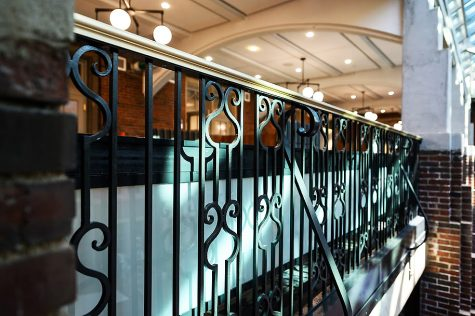 The intricate designs from the original 1919 Michigan Union were replicated in many features of the building, including the railings that overlook the newly enclosed courtyard. These wrought iron railings add a nice feature to the eye of students as they visit the building.