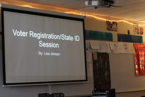 A snapshot of the voter registration informational slideshow students were shown at the meeting in M-12.