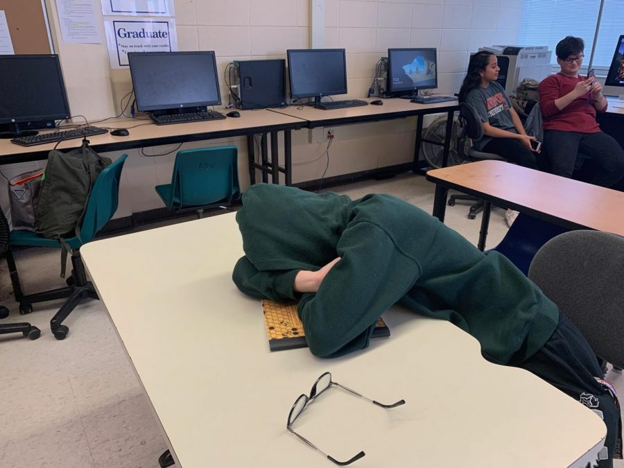 Senior Maggie Grabemeyer takes a nap during class. As a senior, she's finding it harder and harder to stay awake.