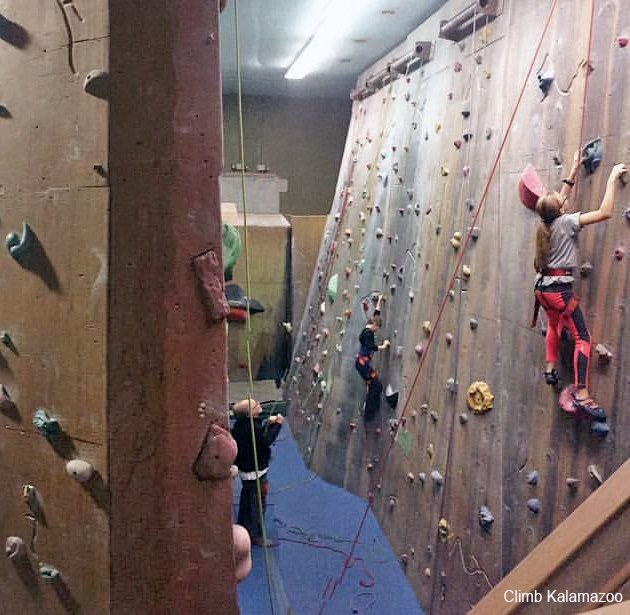 Climbers at Climb Kalamazoo tackle beginner to intermediate level walls. The facility offers a wide range of difficulties for every type of participant.