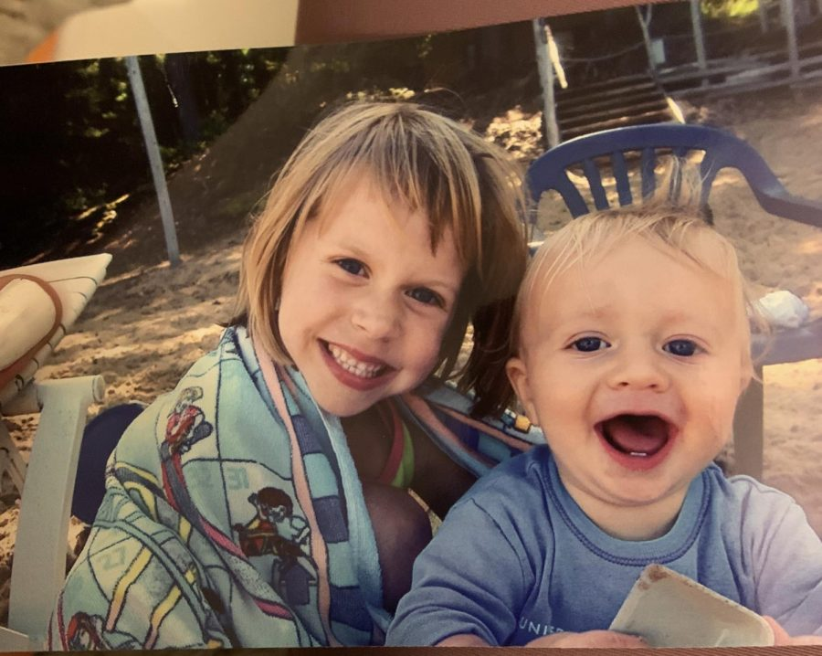 Luna Drumm-Walsh and younger brother Tommy Drumm-Walsh at ages 6 and 1. Luna still supports her brother and the two always spend time together.