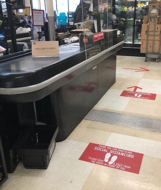 D&W Fresh Market in Kalamazoo clearly defines social distancing and ensures the safety of staff and patrons.