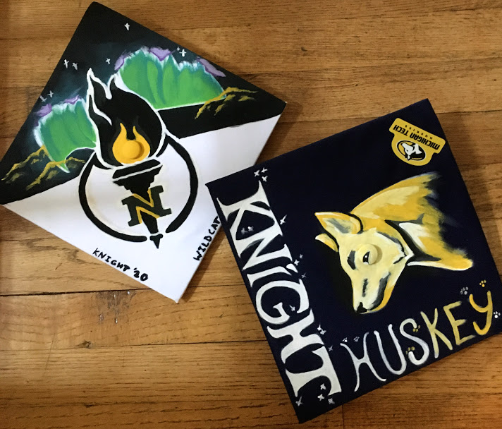 The graduation caps of seniors Alexis Weeden (left) and Brandon Schnurr (right) that were picked up on May 27, 2020 and painted with their colleges symbols. These caps are a testament to the creativity and dedication of the graduating class of 2020.